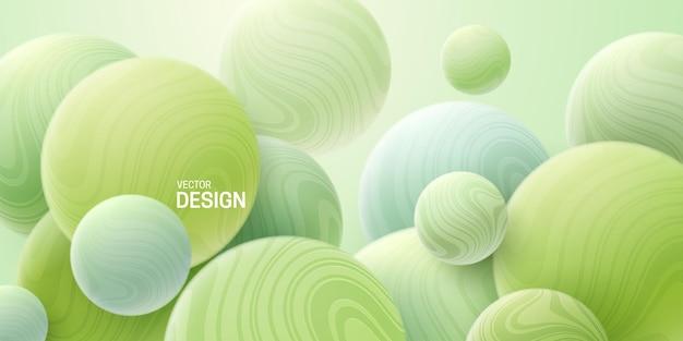 Abstrait avec des bulles marbrées vert menthe 3d