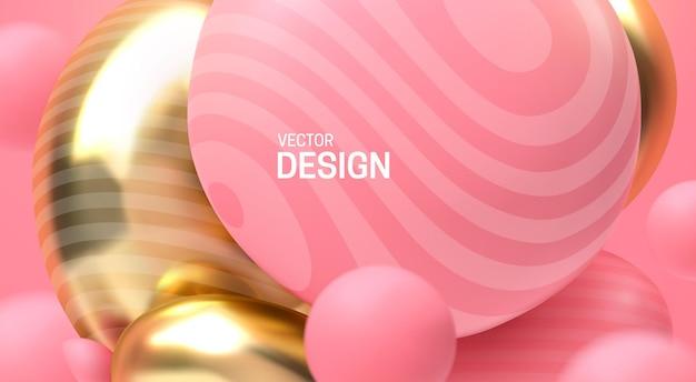 Abstrait avec des bulles roses et dorées rebondissantes