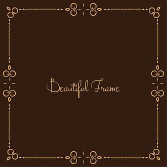Abstrait cadre floral fond marron