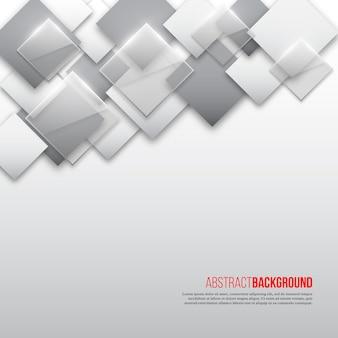Abstrait carré avec losange gris, blanc et verre.