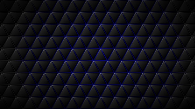 Abstrait de carreaux triangulaires noirs avec des espaces bleus entre eux