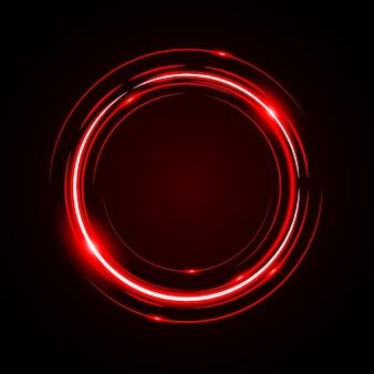 Abstrait cercle lumière rouge cadre vecteur fond