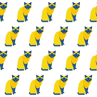 Abstrait chat fait main sans soudure de fond. papier peint de chat artisanal enfantin pour carte de design, couche pour bébé, menu d'hiver, papier d'emballage de vacances, impression de sac, t-shirt, etc.
