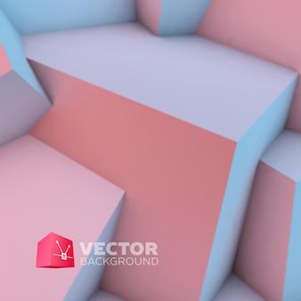 Abstrait avec chevauchement de quartz rose et cubes de sérénité