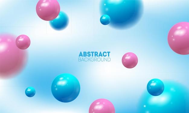 Abstrait clair avec des sphères 3d. boules en plastique pastel violet et rose brillant.