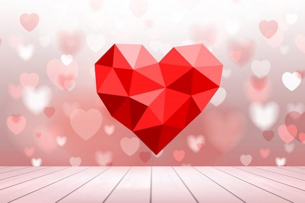 Abstrait de coeur rouge avec la lumière floue bokeh.