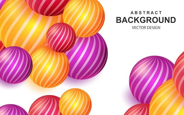 Abstrait coloré avec composition de boules réalistes