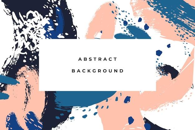 Abstrait coloré dessiné à la main avec des coups de pinceau artistiques et des taches de peinture.