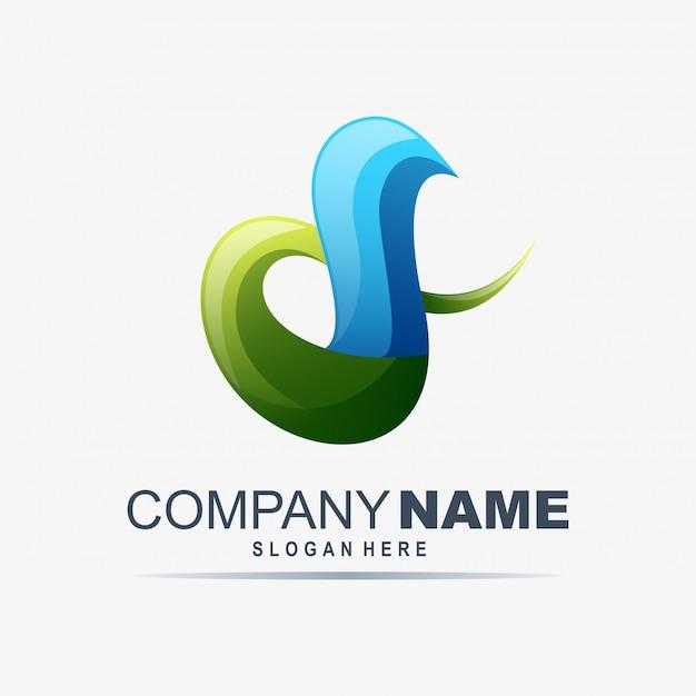 Abstrait coloré i lettre logo