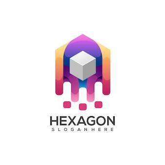 Abstrait coloré de logo de boîte hexagonale génial