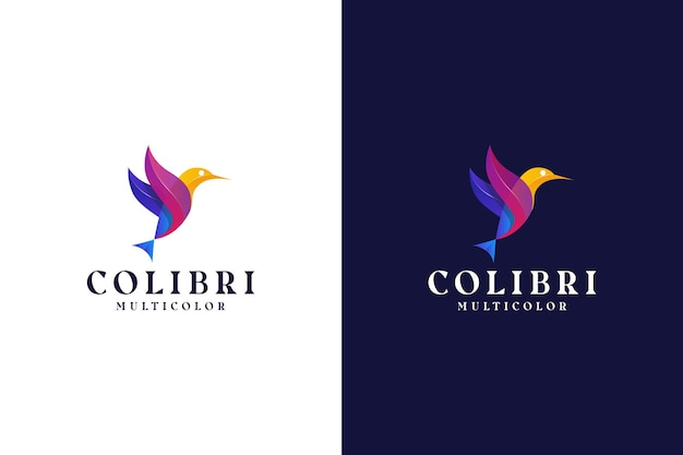 Abstrait coloré logo oiseau dégradé moderne