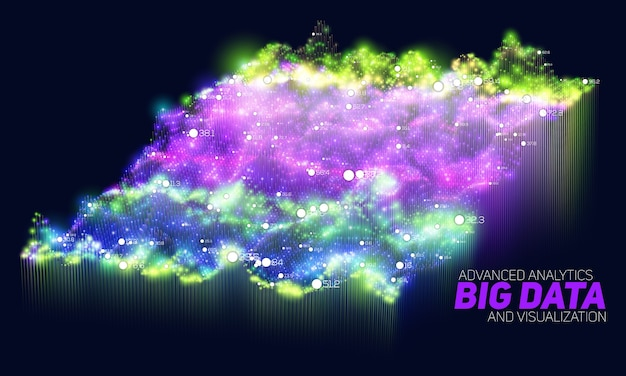 Abstrait coloré de visualisation de données volumineuses