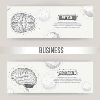 Abstrait concept créatif vecteur du cerveau humain. papier à en-tête et brochure de style design polygonal pour les entreprises. illustration vectorielle eps 10 pour votre conception.