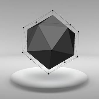 Abstrait concept créatif vecteur de formes géométriques les lignes reliées aux points dans la grande salle studio avec fenêtre. bureau moderne. illustration vectorielle réaliste eps 10 pour votre conception.