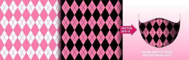 Abstrait. conception transparente de motif de fond noir et rose pour masque visage, oreiller, mode, vêtements, tissu. modèle masque de visage modèle sans couture.