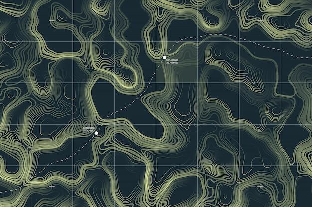 Abstrait conceptuel de carte topographique de terrain étranger