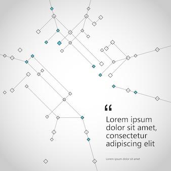 Abstrait connecter la structure polygonale avec des lignes de géométrie et des points.