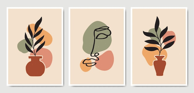 Abstrait contemporain au milieu du siècle moderne laisse face à des portraits d'art en ligne collection de modèles d'affiche boho.