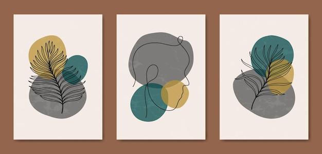 Abstrait contemporain au milieu du siècle moderne laisse faire face à des portraits d'art en ligne modèle d'affiche boho