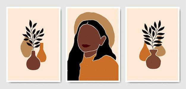 Abstrait contemporain au milieu du siècle moderne laisse visage portraits collection de modèles d'affiche boho.
