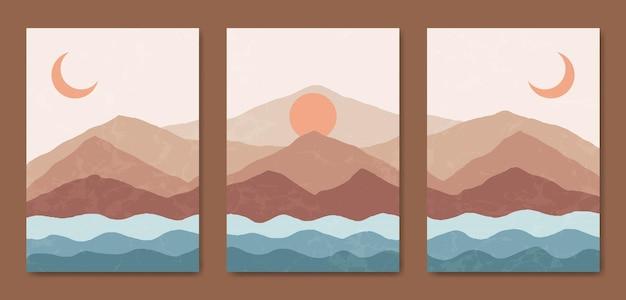 Abstrait contemporain de la couverture de boho de paysage moderne du milieu du siècle.