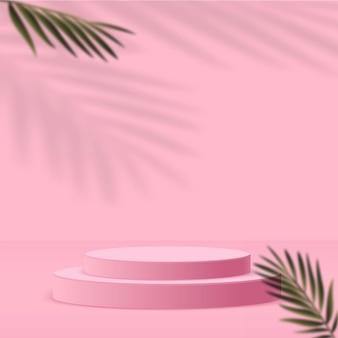 Abstrait avec couleur rose, podium 3d géométrique et palmier