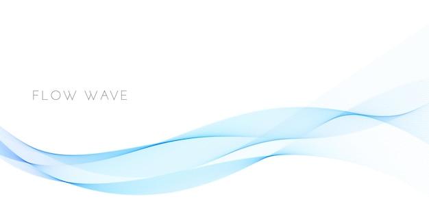Abstrait avec courbe d'onde bleue lisse. conception de flux ondulé isolé sur fond blanc. élément de courbe fluide pour brochure, présentation. illustration vectorielle du mouvement de l'énergie sonore