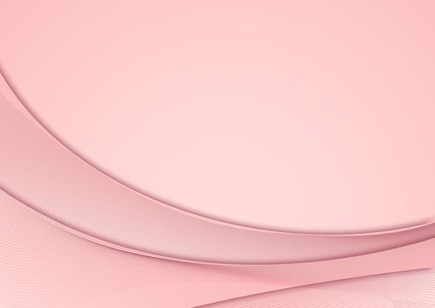Abstrait courbe rose avec des éléments de ligne
