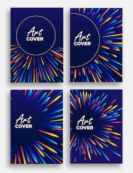 Abstrait couverture fond illustration de faisceau lumineux zoom avec coloré comme des vagues de plume