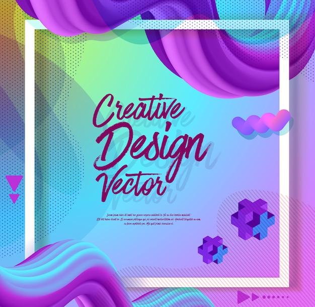 Abstrait créatif 3d flux affiche design