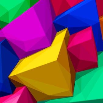 Abstrait avec des cubes colorés et des ombres triangulaires