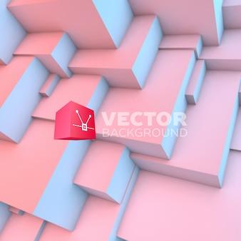 Abstrait avec des cubes de quartz rose et de sérénité qui se chevauchent