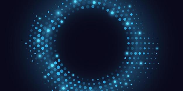 Abstrait demi-teinte bleu scintillant. cercle de points lumineux.