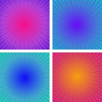 Abstrait demi-teinte. ensemble d'effets de bande dessinée de zoom de mouvement