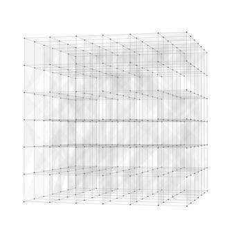 Abstrait avec un design low poly cube