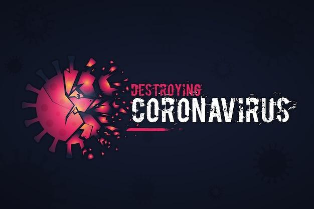 Abstrait détruisant le fond du coronavirus