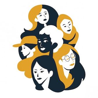 Abstrait deux tons femme diversifiée visages illustration