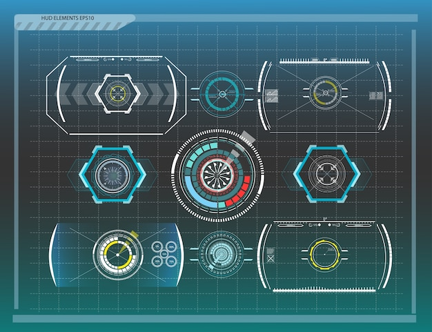 Abstrait avec différents éléments de la hud. éléments hud. illustration. éléments d'affichage tête haute pour les éléments info-graphiques.