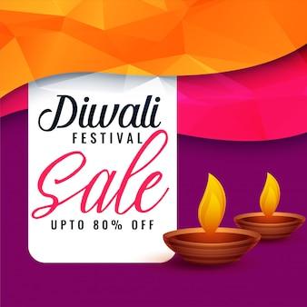 Abstrait diwali vente discount bannière avec deux diya