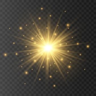 Abstrait doré lentille de soleil avant flare design translucide spécial effet de lumière.