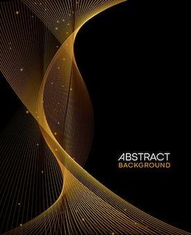 Abstrait doré ondulé brillant doré lignes décoratives