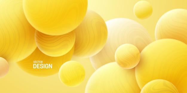 Abstrait doux avec des sphères marbrées jaunes 3d