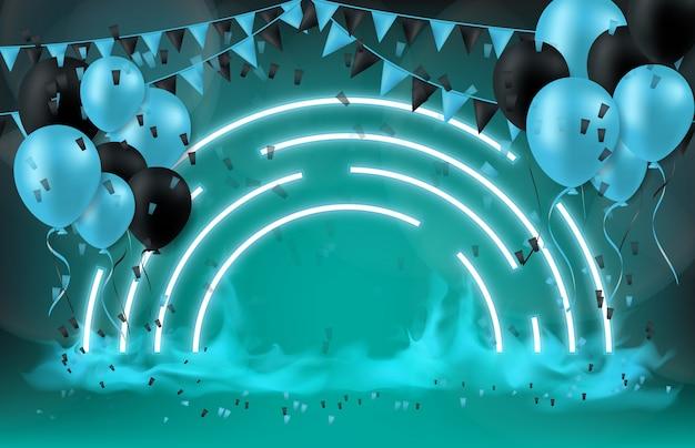 Abstrait du concept de technologie festival ballon et drapeau