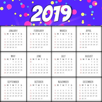 Abstrait élégant calendrier de l'année 2019