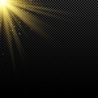 Abstrait élégant effet de lumière dorée sur fond sombre.