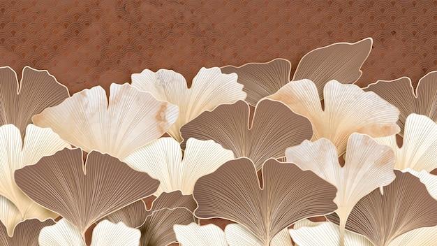 Abstrait élégant avec des feuilles de ginkgo dans des tons beiges avec une texture pour le papier peint et la conception web.