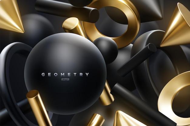 Abstrait élégant avec des formes géométriques 3d noires et dorées fluides