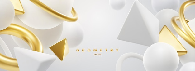 Abstrait élégant avec des formes géométriques blanches et dorées