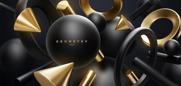 Abstrait élégant avec des formes géométriques noires et dorées fluides