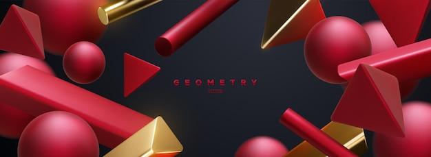 Abstrait élégant avec des formes géométriques rouges et dorées fluides